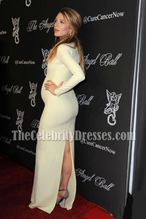 Blake Lively Yellow Long Sleeves Plunging Neckline Evening Prom Maternity Dress Angel Ball 2014 TCD6896