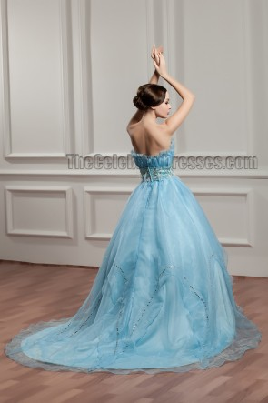 Gorgeous Blue Beaded Ball Gown Strapless Quinceanera Dresses