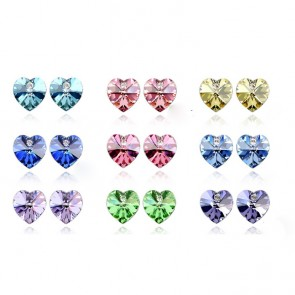 Blue Heart Austrian Crystal Stud Earrings for Sale TCDE0070