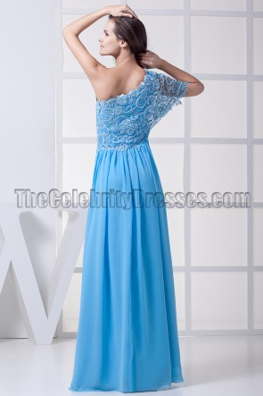 Blue One Shoulder Prom Dress Military Ball Gown