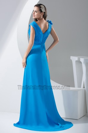Blue V-Neck Chiffon Sweep/Brush Train Evening Formal Dresses