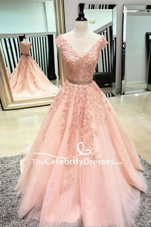 Blushing Pink V-neck Applique Wedding Prom Dress