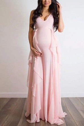 Blushing Pink Sleeveless V-neck Maternity Dress (1)