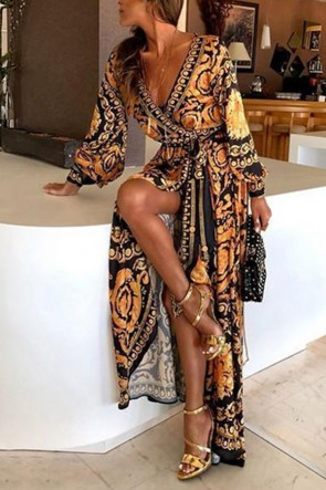 Boho V-neck Printed Dress