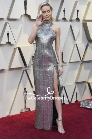 Brie Larson Halter Sequined Thigh-high Slit Evening Dress OSCARS 2019