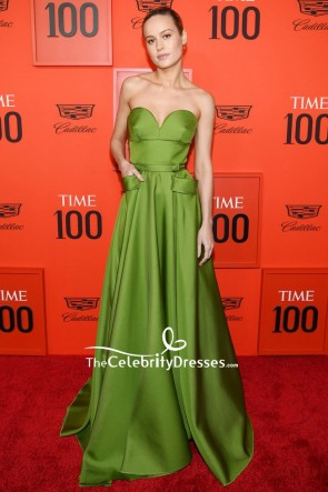 Brie Larson Olive Green Strapless Ball Gown With Pockets 2019 Time 100 Gala