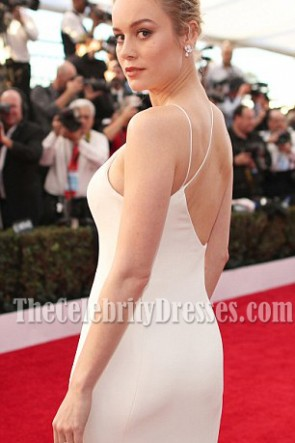 Brie Larson SAG Awards 2017 Ivory Spaghetti Straps Backless Evening Prom Gown TCD7138