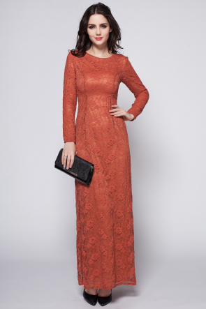 Bright Rust Red Long Sleeve Lace Formal Dress