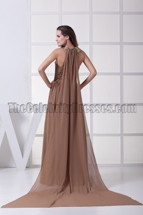 Brown Chiffon Beaded Prom Gown Formal Evening Dresses