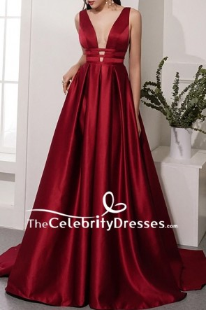 Burgundy Sleeveless Deep V-neck Ball Gown