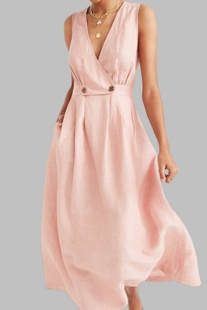Button Sleeveless A-line Dress