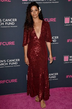 Camila Alves Dark Red Plunging Evening Dress 2020 Unforgettable Evening Gala