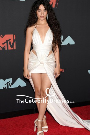 Camila Cabello White Sexy  Cutout Evening Dress MTV VMAs 2019