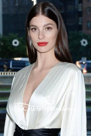 Camila Morrone Ivory And Black Low V-neck Sleeves Evening Dress 2019 CFDA TCD8543