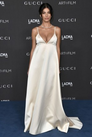Camila Morrone V-neck Dress 2019 LACMA Art And Film Gala (1)