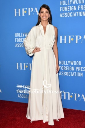 Camila Morrone White One Sleeve Shirtdress 2019 HFPA Grants Banquet