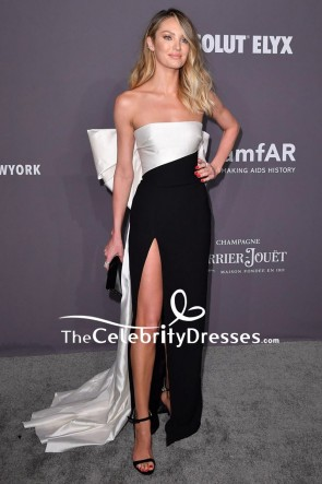 Candice Swanepoel Two Tones Strapless Evening Dress 2019 amfAR New York Gala