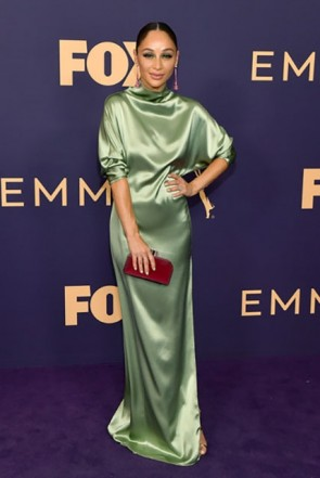 Cara Santana High Neck Mint Prom Dress 2019 Emmy Awards