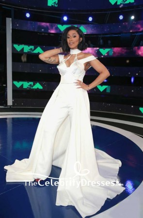 Cardi B Ivory Halter Off-the-shoulder Evening Dress Jumpsuit 2017 MTV Video Music Awards TCD7481