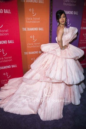 Cardi B Pearl Pink Strapless Princess Gown 2019 Diamond Ball  TCD8641