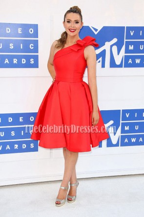 Carly Steel Sexy Red One Shoulder Party Dress 2016 MTV Video Music Awards  1