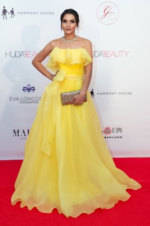 Carmen Soliman Yellow Strapless Ball Gown Global Gift Gala Dubai