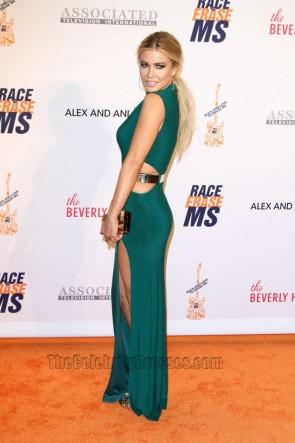 Carmen Electra Green Long Prom Dress 23rd Annual Race To Erase MS Gala Formal Dress TCD6686