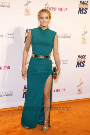 Carmen Electra Green Long Prom Dress 23rd Annual Race To Erase MS Gala Formal Dress 1