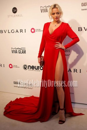 Caroline Vreeland Red Long Sleeves Deep V High Slit Prom Gown 2017 Elton John AIDS Foundation's Academy Awards TCD7180