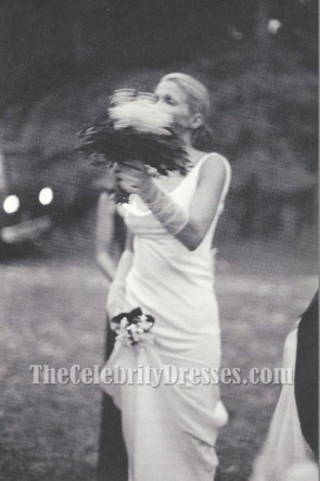 Carolyn Bessette-Kennedy white evening Wedding Dress Ivory Slip Cowl Neckline