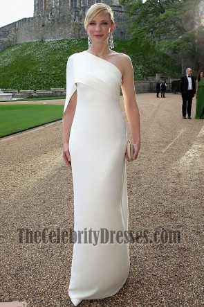 Cate Blanchett White One Shoulder Prom Dress charity gala dinner