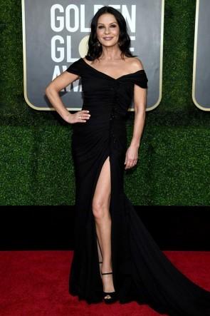 Catherine Zeta-Jones Black Off-the-shoulder Formal Gown 2021 Golden Globe Awards