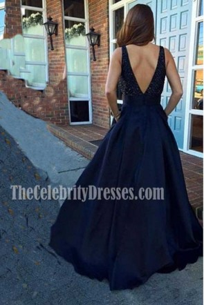 Celebrity Inspired Dark Navy Prom Dresses Evening Formal Gown TCDFD7362