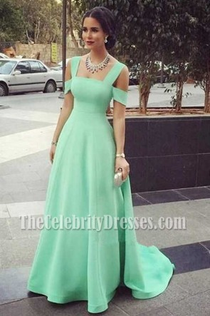 Celebrity Inspired Mint A-Line Formal Dress Evening Formal Gown TCDFD7365