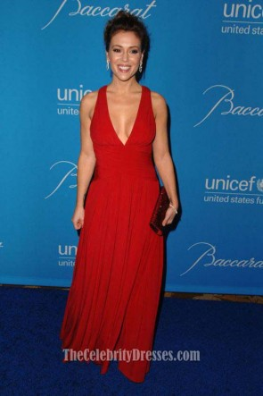 Celebrity Dresses Alyssa Milano Red Chiffon Prom Gown Formal Evening Dress Blue Carpet
