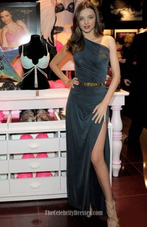 Celebrity Dresses Miranda Kerr One Shoulder Dress Relaunches Victoria's Secret South Coast Plaza Store