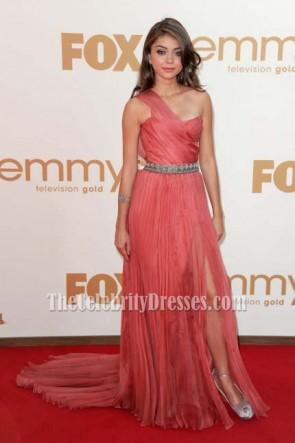 Sarah Hyland One Shoulder Prom Gown Formal Dress 2011 Emmy Awards Red Carpet Celebrity Dresses