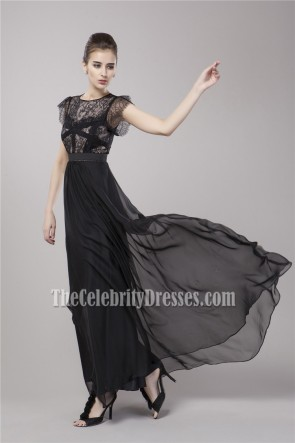 Celebrity Inspired Black Floor Length Evening Dress Prom Gown