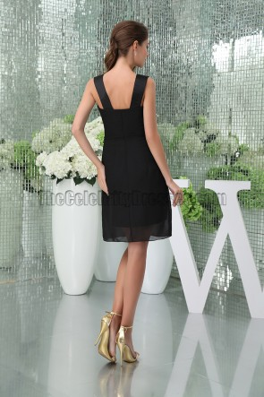 Celebrity Inspired Black V-Neck Cocktail Graduation Party Dress