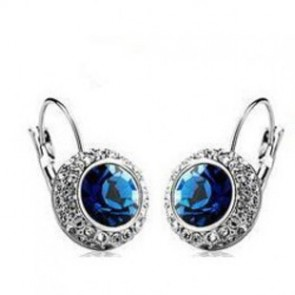 Celebrity Inspired Blue Crystal Clip Earrings for Sale TCDE0010