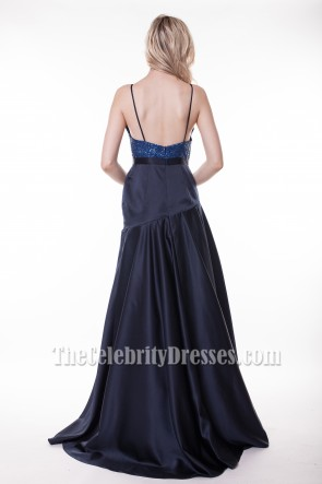 Celebrity Inspired Dark Navy Formal Dress Prom Gowns