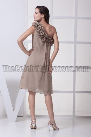 Celebrity Inspired One Shoulder Chiffon Cocktail Party Dresses
