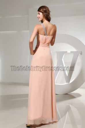 Celebrity Inspired Beaded One Shoulder Prom Gown Evening Dresses