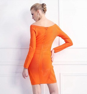 Celebrity Inspired Orange Bandage Long Sleeve Cocktail Dresses TCD5902