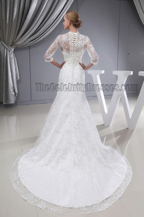 Celebrity Inspired V-Neck Lace Chapel Train Wedding Dress