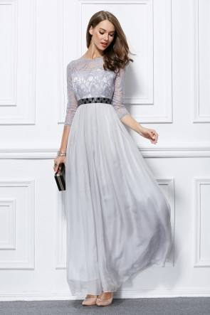 Celebrity Inspired Silver Long Sleeve Prom Gown Evening Formal Dresses TCDBF433