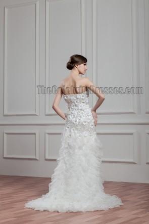 Celebrity Inspired Strapless Beaded Bridal Gown Wedding Dress
