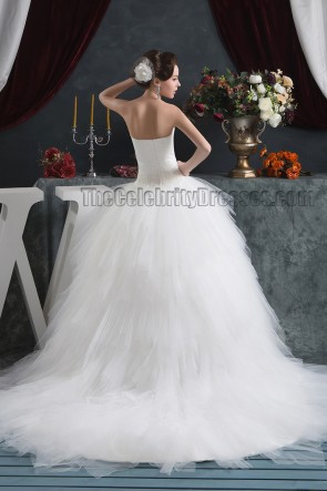Strapless Sweetheart Ball Gown Chapel Train Wedding Dresses