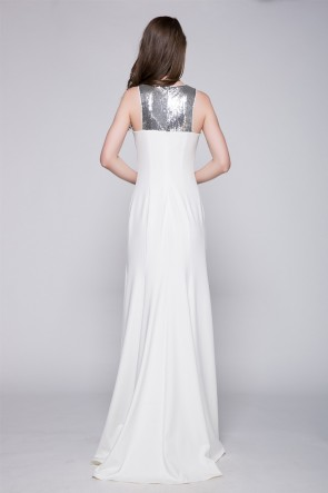 Celebrity Inspired White And Silver Sequined Prom Evening Dresses