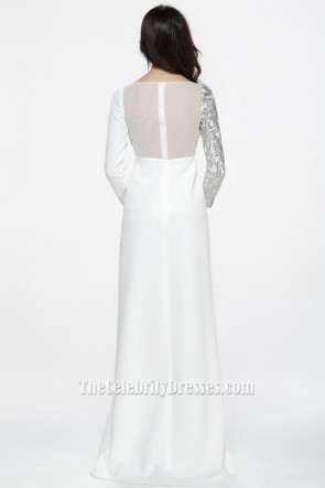 Celebrity Inspired White Long Sleeve Formal Dress Evening Gowns TCDBF074